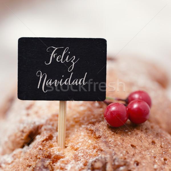 text feliz navidad, merry christmas in spanish Stock photo © nito