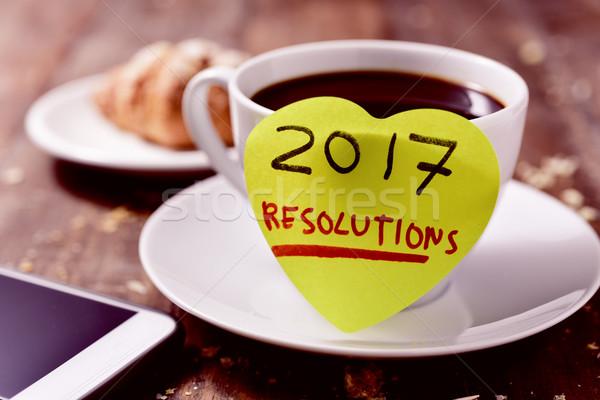 brekafast, smartphone and text 2017 resolutions Stock photo © nito