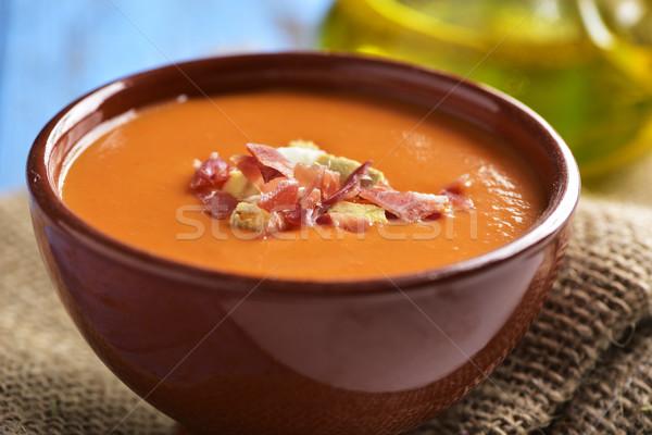Espanhol frio sopa de tomate tigela serrano Foto stock © nito