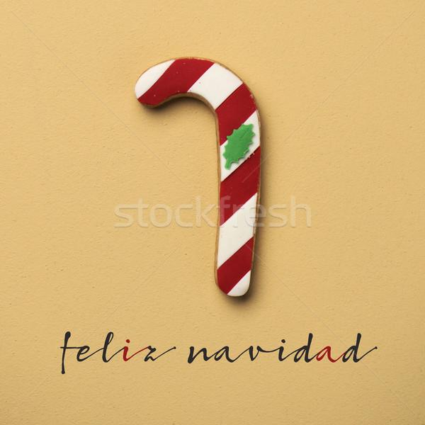 Zdjęcia stock: Tekst · wesoły · christmas · hiszpanski · cookie