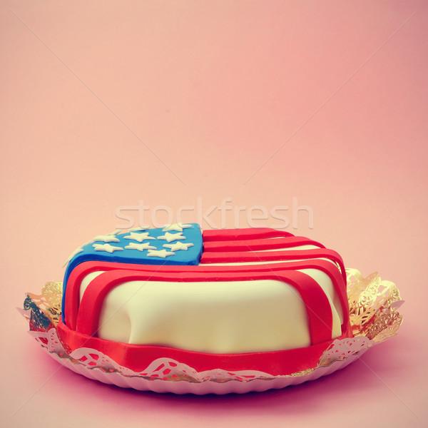 Torta díszített amerikai zászló közelkép rózsaszín retro Stock fotó © nito