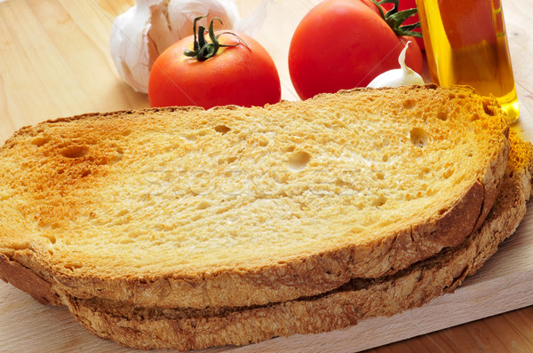 toasted bread slices, and garlic, olive oil and tomato Stock photo © nito