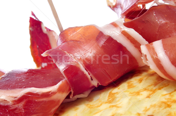 испанский Тапас плоская маисовая лепешка картофеля Бар пластина Сток-фото © nito
