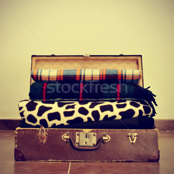 blankets in an old suitcase Stock photo © nito