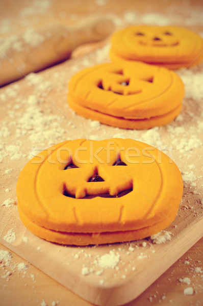 cookies in the shape of jack-o-lanterns Stock photo © nito