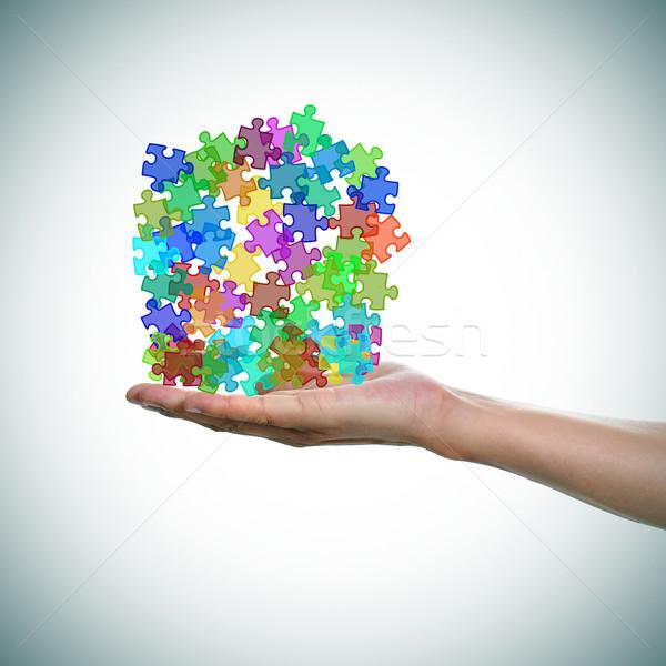 Puzzleteile unterschiedlich Farben Symbol Autismus Mann Stock foto © nito