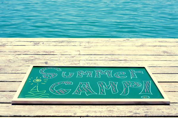 Metin yaz kampı yazılı kara tahta tebeşir farklı Stok fotoğraf © nito