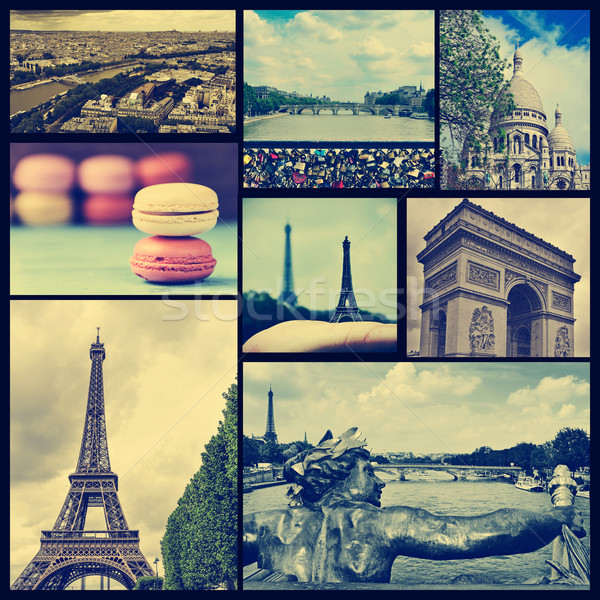Stock photo: collage of different landmarks in Paris, France, cross processed