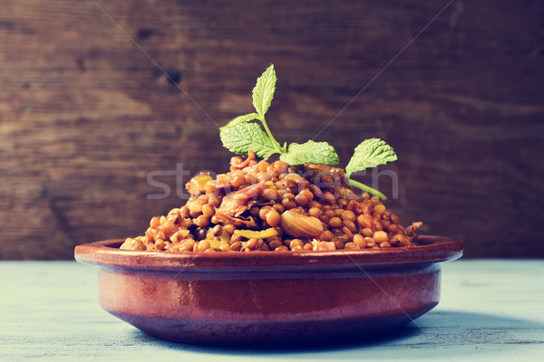Stock photo: spanish lentil stew, filtered