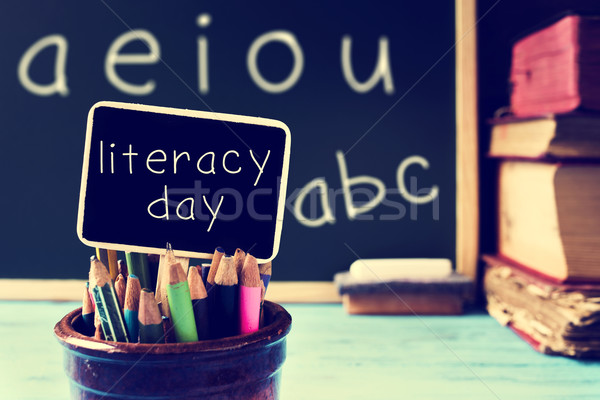 text literacy day in a chalkboard, in a classroom, filtered Stock photo © nito