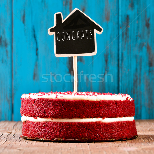 house-shaped chalkboard with the text congrats in a cake, with a Stock photo © nito