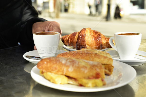 coffee, croissant and spanish omelette sandwich Stock photo © nito