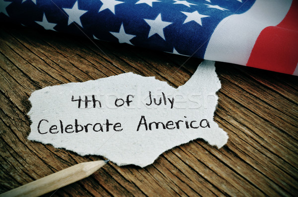 текста праздновать Америки американский флаг кусок Сток-фото © nito