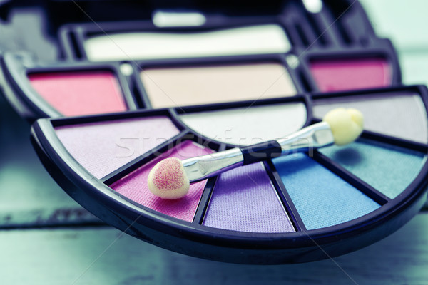 eye shadow palette and applicator Stock photo © nito