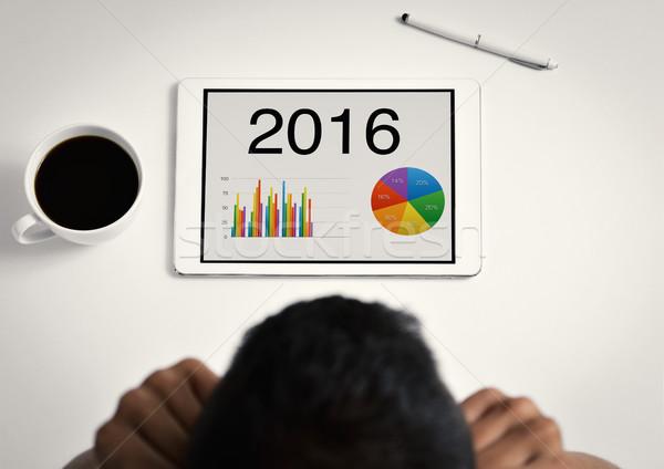 Férfi táblázatok 2016 tabletta közelkép fiatal Stock fotó © nito