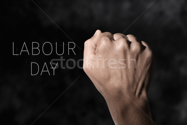 raised fist and text labour day Stock photo © nito