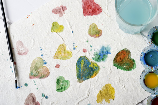 Stock photo: watercolor hearts of different colors