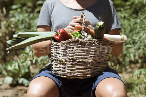 young man with a basket full of vegetables Stock photo © nito