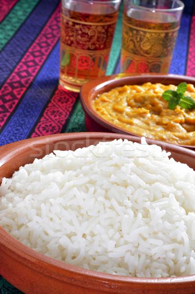 Basmati rijst kerrie kommen diner Stockfoto © nito