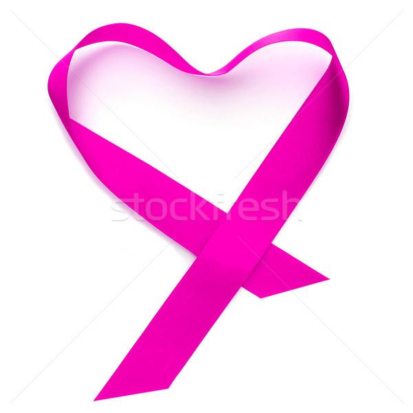Szalag rózsaszín szalag fehér szeretet nők szív Stock fotó © nito