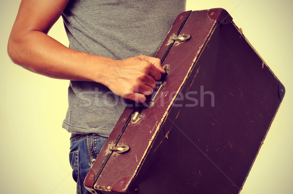 young man with old suitcase Stock photo © nito