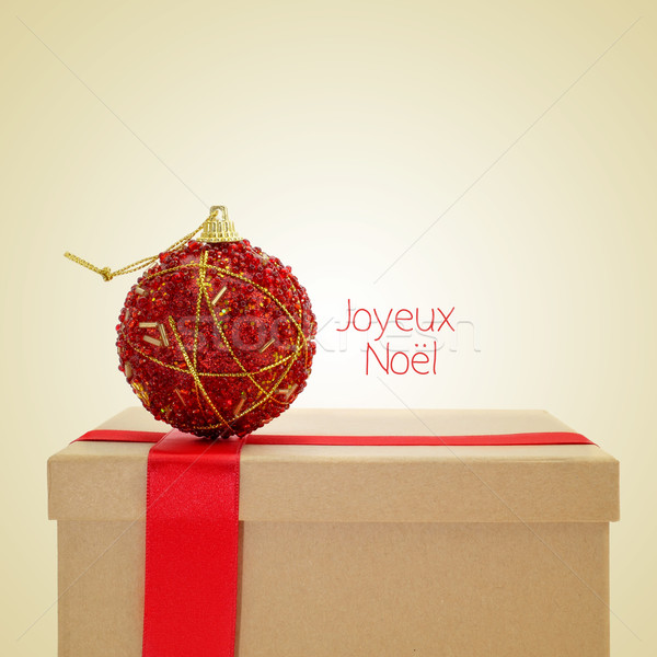 joyeux noel, merry christmas in french, with a retro effect Stock photo © nito