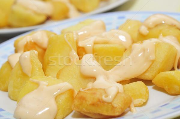 Tipik İspanyolca baharatlı patates plaka Stok fotoğraf © nito