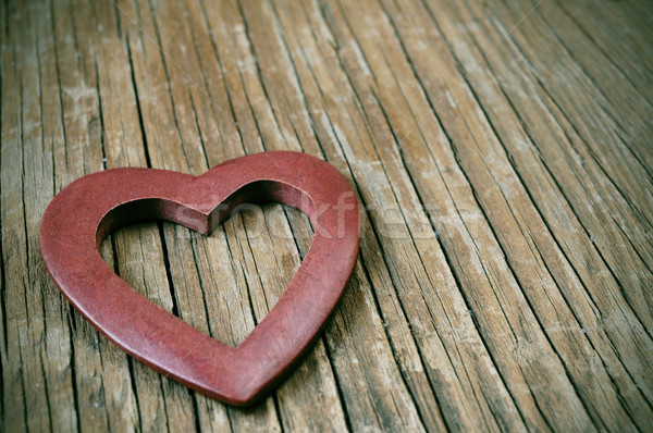 wooden heart on a wooden surface with a filter effect Stock photo © nito
