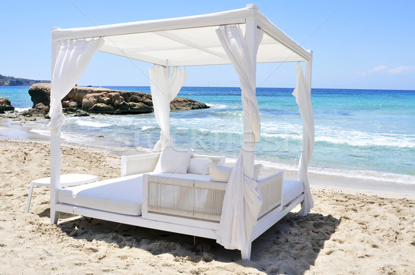 white bed in a beach club in Ibiza, Spain Stock photo © nito