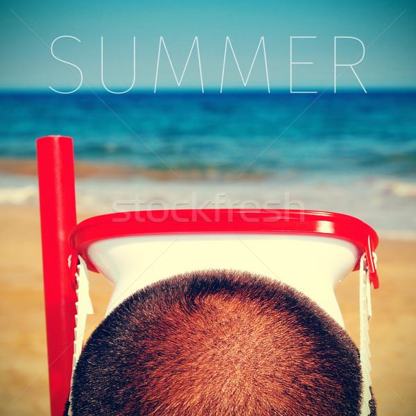 Man duiken masker woord zomer jonge man Stockfoto © nito
