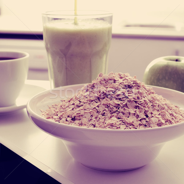 coffee, oatmeal cereal, apple and smoothie, filtered Stock photo © nito