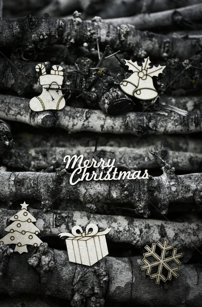 text merry christmas and rustic ornaments Stock photo © nito