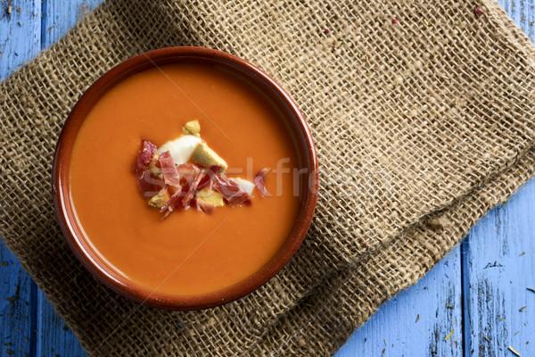 Espanol frío sopa de tomate tiro tazón serrano Foto stock © nito