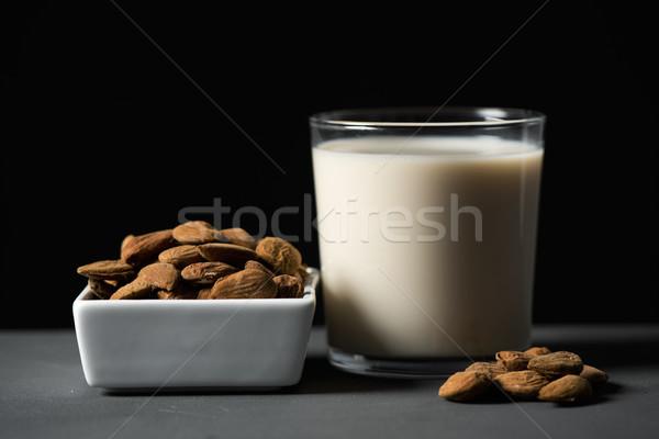 Mandulák mandula tej közelkép fehér kerámia Stock fotó © nito