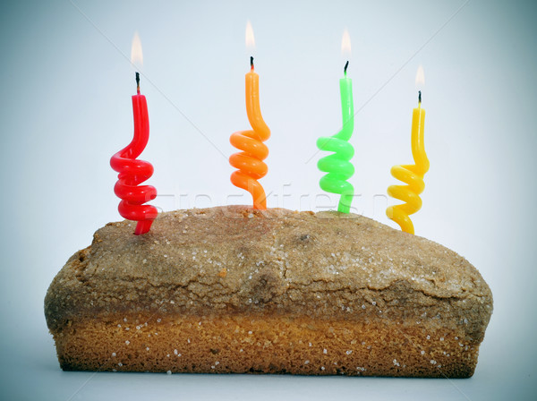 sponge cake with lighted candles Stock photo © nito