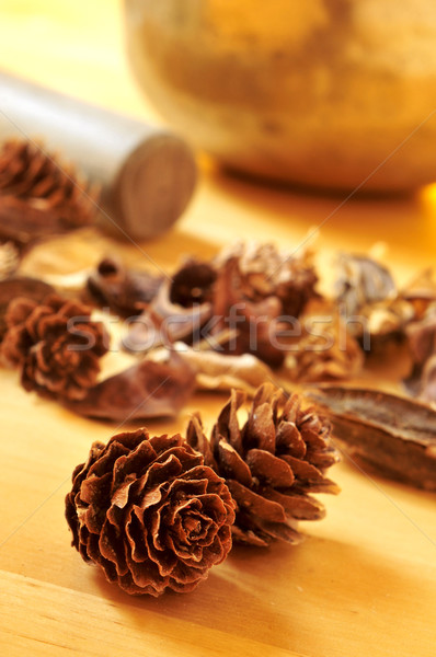 pine cones and dried flowers, and a tibetan singing bowl Stock photo © nito