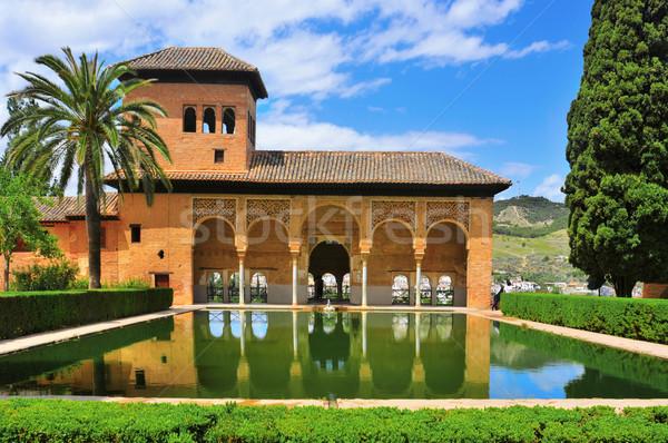 Alhambra İspanya saray gökyüzü havuz Stok fotoğraf © nito