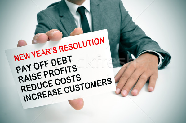 businessman with a list of new years resolutions Stock photo © nito
