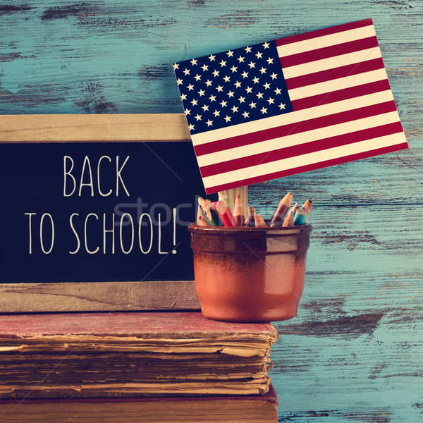 text back to school written on a chalkboard Stock photo © nito
