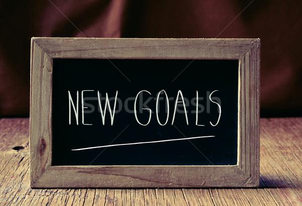 Szöveg új célok tábla írott rusztikus Stock fotó © nito