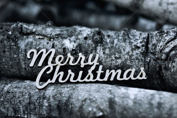 text merry christmas and pile of logs Stock photo © nito