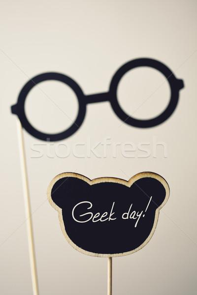 Czarny okulary tekst geek dzień pary Zdjęcia stock © nito
