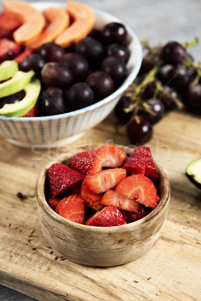 strawberries and fruit salad in some bowls Stock photo © nito