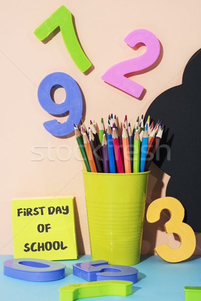 stationery and text first day of school Stock photo © nito