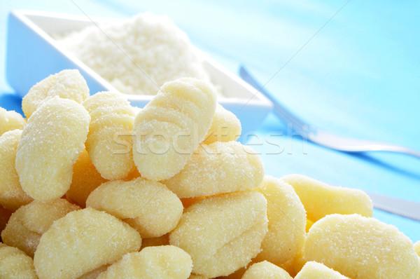 Queso parmesano primer plano tazón mesa azul Foto stock © nito
