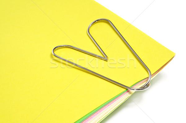 Spinacz papieru inny kolory biały działalności Zdjęcia stock © nito