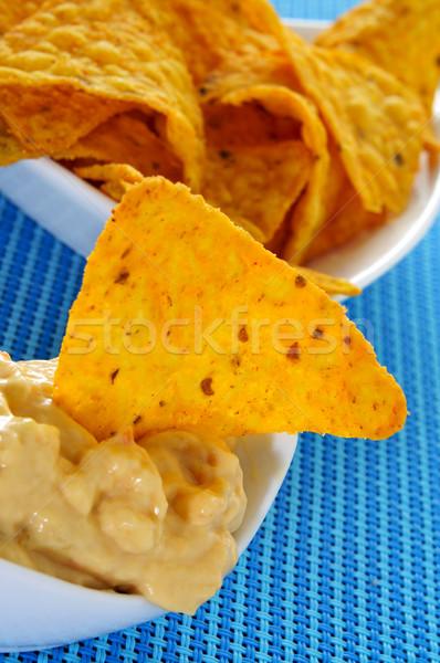 Tortilla batatas fritas queijo tigela azul Foto stock © nito
