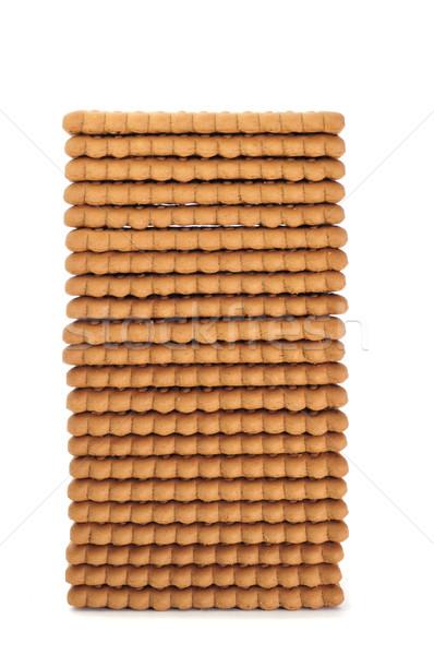 Négyszögletes sütik köteg fehér háttér kövér Stock fotó © nito