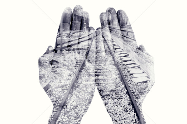 double exposure of man hands and railway, in black and white Stock photo © nito