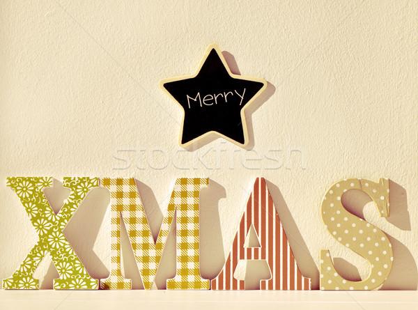 text merry xmas, filtered Stock photo © nito